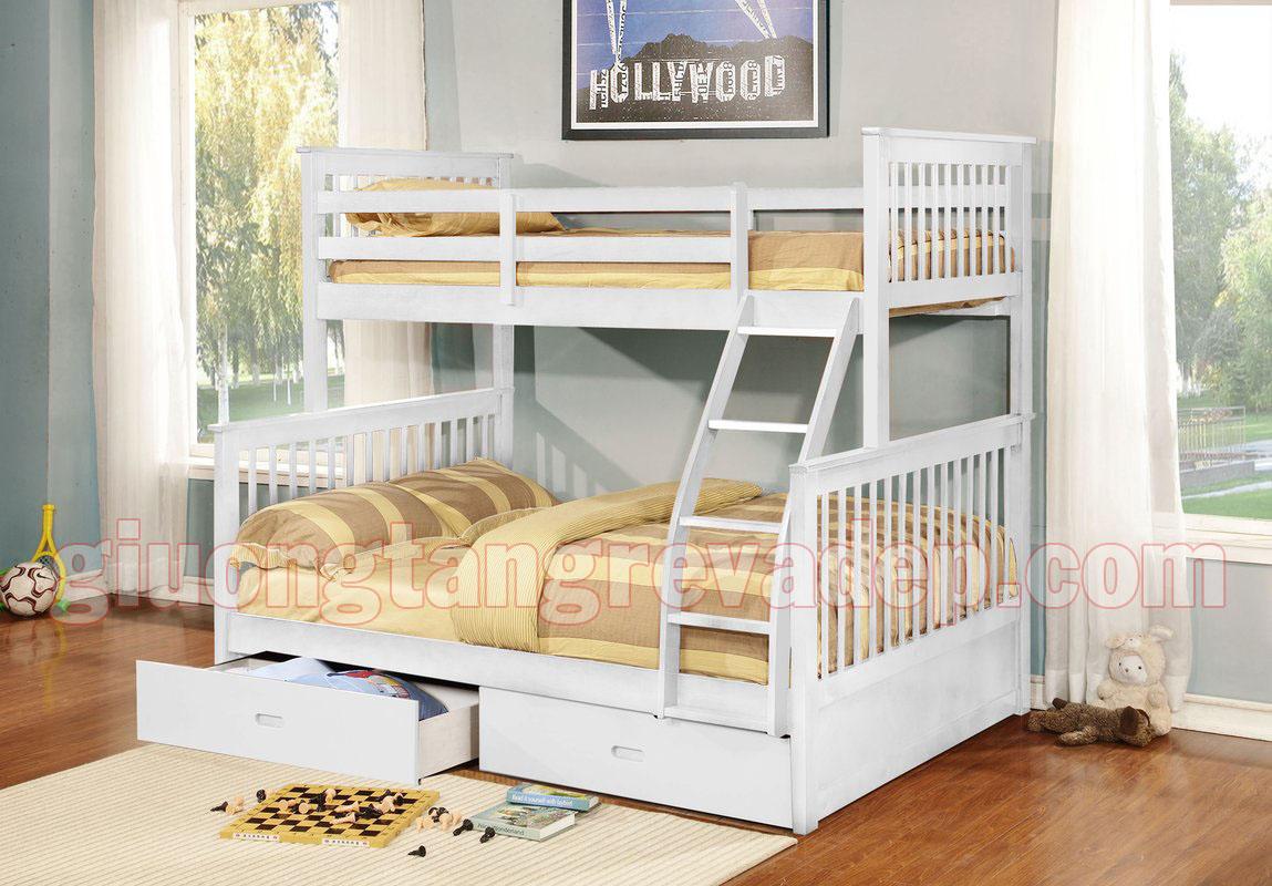 Giường gỗ 2 tầng trẻ em có ngăn kéo K.Bed 028